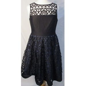 Muse Laser Cut Black Floral Flower Party Dress